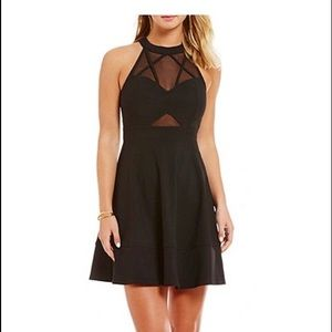 High Neck Illusion Cut Out Skater Dress